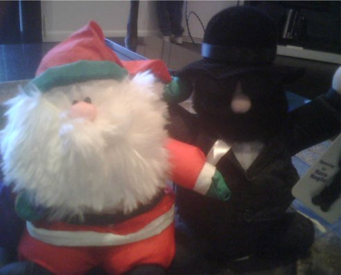 Santa Claus and rabbi Harvey Magila